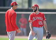 Angels' pitcher Matt Shoemaker shares a laugh with pitching coach Charles Nagy after throwing to live batters during workouts at the Angels' Spring Training facility in Tempe, AZ on Wednesday, February 22, 2017. (Photo by Kevin Sullivan, Orange County Register/SCNG)