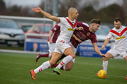 Airdrie's Leighton McIntosh and Stenhousemuir's Morgan Neill. Stenhousemuir 1 v 0 Airdrie, Scottish Football League Division One played 26/1/2019 at Ochilview Park.