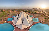Aerial view of Lotus Temple with birds flying by, Delhi, India