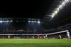 Bristol City fans fill the away end  - Mandatory by-line: Matt McNulty/JMP - 09/01/2018 - FOOTBALL - Etihad Stadium - Manchester, England - Manchester City v Bristol City - Carabao Cup Semi-Final First Leg