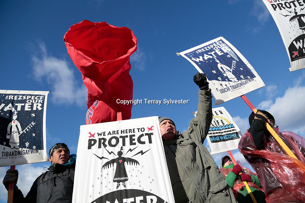 Opponents of the Dakota Access oil pipeline rally on a tributary of the Missouri River on November 18, 2016. Cannon Ball, North Dakota, United States.