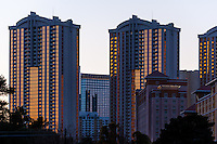 United States, Nevada, Las Vegas. Buildings in the sunset.