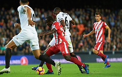 November 3, 2018 - Valencia, Valencia, Spain - Geoffrey Kondogobia of Valencia CF and Syedou Doumbia of Girona FC during the La Liga match between Valencia CF and Girona FC at Mestala Stadium on November 3, 2018 in Valencia, Spain (Credit Image: © AFP7 via ZUMA Wire)