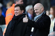 new FIFA president Gianni Infantino in the stand watching the game gives a thumbs up signal . Barclays Premier league match, Swansea city v Norwich city at the Liberty Stadium in Swansea, South Wales  on Saturday 5th March 2016.<br /> pic by  Andrew Orchard, Andrew Orchard sports photography.