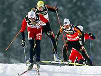 Kombinert, 18. februar 2005, VM Oberstdorf, Tyskland, <br /> Magnus Moan (NOR), Bjoern Kircheisen, Ronny Ackermann (GER)