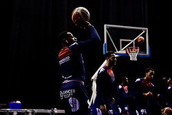 Panos Mayindombe of Bristol Flyers prepares in the warm up area prior to tip off - Photo mandatory by-line: Ryan Hiscott/JMP - 26/01/2020 - BASKETBALL - Arena Birmingham - Birmingham, England - Bristol Flyers v Worcester Wolves - British Basketball League Cup Final