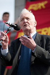 © Under licence to London News Pictures. 14/03/14 Tony Benn has died aged 88. FILE PICTURE:  01/05/11. Labour politician Tony Benn waits addresses several thousand people taking part in a Mayday demonstration in central London. Please see special instructions for usage rates. Photo credit should read Matt Cetti-Roberts/LNP