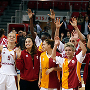 Galatasaray's players celebrate victory during their Euroleague woman Group A basketball match Galatasaray between UMMC Ekaterinburg at the Abdi Ipekci in Istanbul at Turkey on wednesday,October, 26, 2010. Photo by TURKPIX