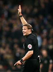 """Referee Craig Pawson during the Premier League match at Wembley Stadium, London. PRESS ASSOCIATION Photo. Picture date: Saturday January 13, 2018. See PA story SOCCER Tottenham. Photo credit should read: John Walton/PA Wire. RESTRICTIONS: EDITORIAL USE ONLY No use with unauthorised audio, video, data, fixture lists, club/league logos or """"live"""" services. Online in-match use limited to 75 images, no video emulation. No use in betting, games or single club/league/player publications."""