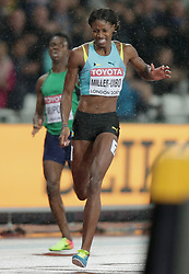 Bahamas' Shaunae Miller-Uibo appears to be in pain during the Women's 400m Final during day six of the 2017 IAAF World Championships at the London Stadium. Shane Miller Uibo during day six of the 2017 IAAF World Championships at the London Stadium. PRESS ASSOCIATION Photo. Picture date: Wednesday August 9, 2017. See PA story ATHLETICS World. Photo credit should read: Yui Mok/PA Wire. RESTRICTIONS: Editorial use only. No transmission of sound or moving images and no video simulation