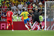 Paulinho of Brazil of Brazil scores a goal despite Vladimir Stojkovic of Serbia during the 2018 FIFA World Cup Russia, Group E football match between Erbia and Brazil on June 27, 2018 at Spartak Stadium in Moscow, Russia - Photo Thiago Bernardes / FramePhoto / ProSportsImages / DPPI
