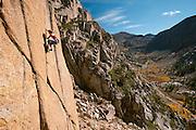 "Tonya Nilson climbing ""Casseopeia"" 5.10b, at Chipmunk Flat, Sonora Pass, California"