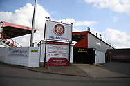 The Lames Stadium showing detail of todays fixture during the EFL Sky Bet League 2 match between Stevenage and Forest Green Rovers at the Lamex Stadium, Stevenage, England on 18 September 2021.