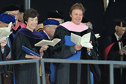 Carla Anderson Hills and Paul McCartney smile after receiving their Honorary Doctorates, Yale University, New Haven, CT