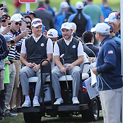 Ryder Cup 2016.  Justin Rose and Andy Sullivan of Europe on the back of a golf cart during practice day at the Hazeltine National Golf Club on September 29, 2016 in Chaska, Minnesota.  (Photo by Tim Clayton/Corbis via Getty Images)