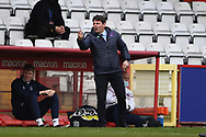 Carlisle United manager Chris Beech pointing, directing, signalling, gesture in the technical area during the EFL Sky Bet League 2 match between Stevenage and Carlisle United at the Lamex Stadium, Stevenage, England on 20 March 2021.