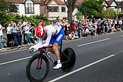 London, UK. Wednesday 1st August 2012. The Men's Individual Time Trial cycling event passes through Twickenham on route to find the fastest male cyclist. Rider Denis Menchov of Russia.