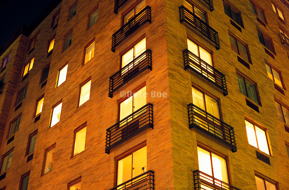 Corner of residential building at night