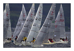 Yachting- The second start of the Bell Lawrie Scottish series 2002 at Inverkip racing to Tarbert Loch Fyne where racing continues over the weekend.<br /><br />Odessey K9156Y and Pepsi IRL633 lead the sigma 33 start down the line.<br /><br />Pics Marc Turner / PFM