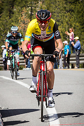 May 18, 2018 - Nevada, U.S - Friday, May 18, 2018.Amgen Race Leader, TEJAY VAN GARDEREN (USA), BMC Racing Team (USA), reaches Daggett Summitt, 7334 ft, along Kingsbury Grade Rd., in Nevada, near South Lake Tahoe...van Garderen falls 1.25'' behind the day's winner, Team Sky's 21-year-old Colombian rider, Egan Bernal, losing his grip on the yellow jersey...BMC Racing Team's Tejay van Garderen (Tacoma, Wash.), now sits second overall going into tomorrow's Sacramento race finale. (Credit Image: © Tracy Barbutes via ZUMA Wire)