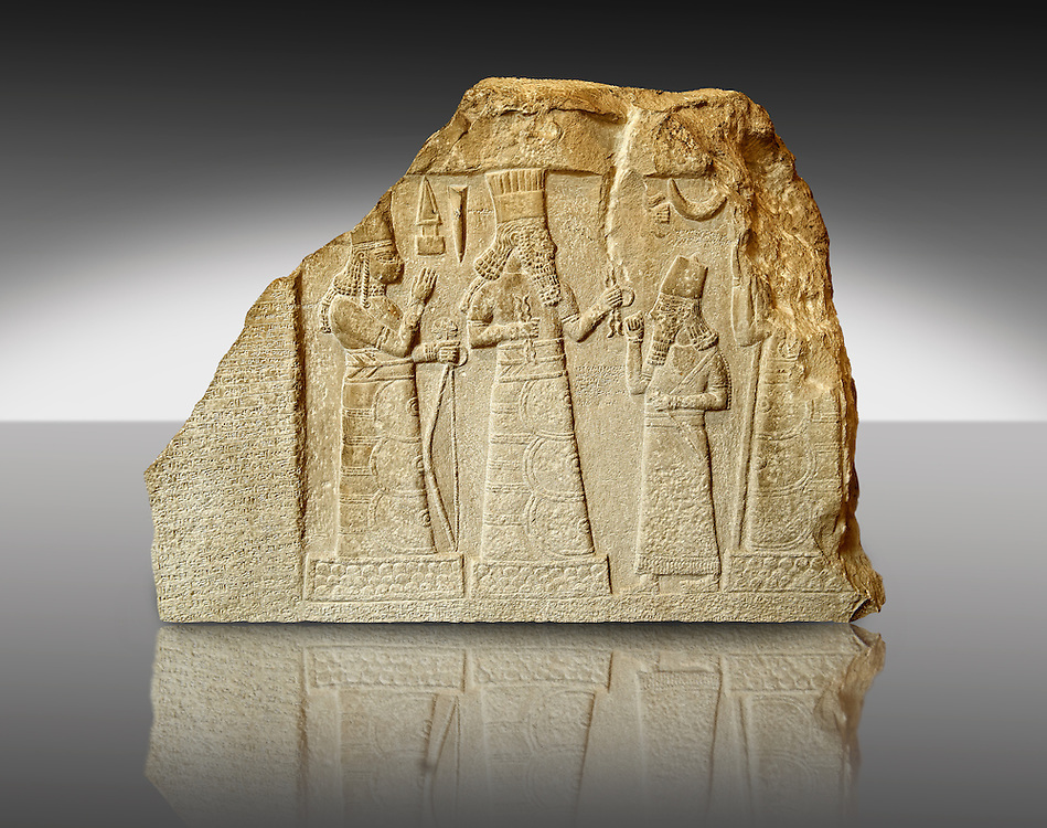 8th Cent. B.C Babylonian limestone funereal stele with inscription & relief sculpture of the governor of Mari and Suhi praying to the Gods from the Palace Museum Babylon, Iraq. The inscription states that the governor reigned for 13 years and built the city of Gabarri-ibni also making canals for new date palm cultivation in different cities, and working on the development of agriculture in the city of Suhi. Istanbul Archaeological Museum Inv. 7815 .<br /> <br /> If you prefer to buy from our ALAMY PHOTO LIBRARY Collection visit : https://www.alamy.com/portfolio/paul-williams-funkystock/babylon-antiquities.html Type - Istanbul - into the LOWER SEARCH WITHIN GALLERY box to refine search by adding background colour, place, museum etc<br /> <br /> Visit our ANCIENT WORLD PHOTO COLLECTIONS for more photos to download or buy as wall art prints https://funkystock.photoshelter.com/gallery-collection/Ancient-World-Art-Antiquities-Historic-Sites-Pictures-Images-of/C00006u26yqSkDOM