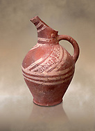 Early Minoan decorated clay jugs ,  Michlos Cemetery 2600-1900 BC BC, Heraklion Archaeological  Museum. .<br /> <br /> If you prefer to buy from our ALAMY PHOTO LIBRARY  Collection visit : https://www.alamy.com/portfolio/paul-williams-funkystock/minoan-art-artefacts.html . Type -   Heraklion   - into the LOWER SEARCH WITHIN GALLERY box. Refine search by adding background colour, place, museum etc<br /> <br /> Visit our MINOAN ART PHOTO COLLECTIONS for more photos to download  as wall art prints https://funkystock.photoshelter.com/gallery-collection/Ancient-Minoans-Art-Artefacts-Antiquities-Historic-Places-Pictures-Images-of/C0000ricT2SU_M9w