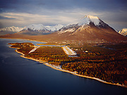 Glen and B's airstrips, Port Alsworth, Tanlian Mountain beyond, shore of Lake Clark, Alaska.