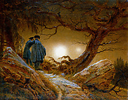 Man and Woman Gazing at the Moon (c1824) by Caspar David Friedrich (1774-1840) German Romantic painter.