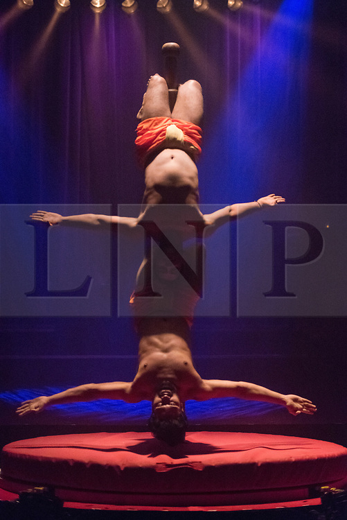 © Licensed to London News Pictures. 27/11/2017. London, UK. Mallakhamb India! featuring Rajesh Amrale  and Rajesh Rao performs in the La Soiree photocall at the Aldwych Theatre. The Olivier award winning company show runs 24 November 2017 – 3 February 2018. Photo credit: Ray Tang/LNP