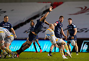 Sale Sharks lock JP Du Preez stretches to charge down a kick from Wasps Dan Robson during the Gallagher Premiership Rugby match Sale Sharks -V- Wasps  at The AJ Bell Stadium, Greater Manchester, England United Kingdom, Sunday, December 27, 2020. (Steve Flynn/Image of Sport)