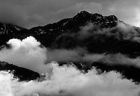 IFTE-NB-007631; Niall Benvie; View into the valley around Fliess from Kaunergrat visitor's centre; Austria; Europe; Tirol; horizontal; grey blue; forest woodland; 2008; July; summer; fog mist rain cloud; Wild Wonders of Europe Naturpark Kaunergrat