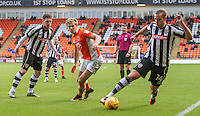 Notts County's Louis Laing wins the ball from Blackpool's Brad Potts<br /> <br /> Photographer Alex Dodd/CameraSport<br /> <br /> The EFL Sky Bet League Two - Blackpool v Notts County - Saturday 12th November 2016 - Bloomfield Road - Blackpool<br /> <br /> World Copyright © 2016 CameraSport. All rights reserved. 43 Linden Ave. Countesthorpe. Leicester. England. LE8 5PG - Tel: +44 (0) 116 277 4147 - admin@camerasport.com - www.camerasport.com