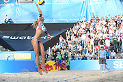 Beachvolleyball: FIVB World Tour Finals, Hamburg, 23.08.2017<br /> Damen: Julia Sude / Chantal Laboureur (GER) - Joan Heidrich / Anouk Verge-Depre (SUI)<br /> © Torsten Helmke