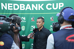 22042018 (Durban) Maritzburg United headcoach Fadlu Davids talk at the post match interviews when Maritzburg United FC make their way to the final of the Nedbank Cup after walloping 3-1 when playing against Mamelodi Sundowns FC at the Harry Gwala Stadium in Pietermaritzburg; KZN yesterday.Picture: Motshwari Mofokeng/ANA