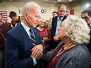 21 JANUARY 2020 - AMES, IOWA: Former US Vice President JOE BIDEN talks to JENNA MCCRARY on the rope line during a campaign event at the Gateway Hotel and Conference Center in Ames, Tuesday. About 150 people came to listen to former Vice President Biden talk about his reasons for running for President. Iowa hosts the first event of the presidential election cycle. The Iowa Caucuses are Feb. 3, 2020.      PHOTO BY JACK KURTZ