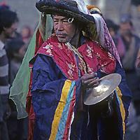 NEPAL, HIMALAYA. Tibetan Buddhist dancer, Manang village.