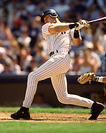 BRONX, NY - 2000:  Derek Jeter of the New York Yankees bats during an MLB game at Yankee Stadium in The Bronx, New York, (Photo by Ron Vesely)  Subject:   Derek Jeter
