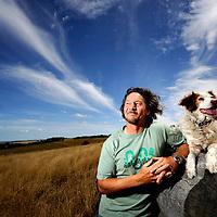 Stop-motion animator Glenn Hunwick and Bella the dog, Torquay, Vic.