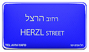 Street sign series. Streets in Tel Aviv, Israel in English and Hebrew Herzl street