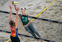 """Eduarda Santos Lisboa """"Duda"""" BRA in action during the third day of the beach volleyball event King of the Court at Jaarbeursplein on September 11, 2020 in Utrecht."""