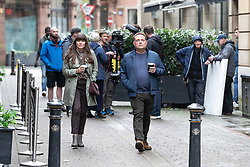 © Licensed to London News Pictures . 16/10/2019. Manchester , UK . JOHN THOMSON and CLAIRE KEELAN being filmed for a new series of Cold Feet , in and around King Street and Pall Mall in Manchester City Centre . Photo credit : Joel Goodman/LNP