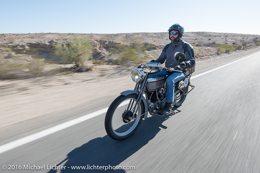 Jon Dobbs of Wisconsin riding his 1915 Harley-Davidson in the Motorcycle Cannonball Race of the Century. Stage-14 ride from Lake Havasu CIty, AZ to Palm Desert, CA. USA. Saturday September 24, 2016. Photography ©2016 Michael Lichter.