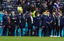 Scotland manager Steve Clarke and his back room staff stand against racism ahead of the UEFA Euro 2020 Group D match at Hampden Park, Glasgow. Picture date: Monday June 14, 2021.