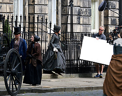 """Moray Place in Edinburgh's Georgian old town was turned into 19th century London for Julian Fellowes' new ITV show """"Belgravia"""".<br /> <br /> Pictured: Tamsin Greig (striped dress) doing a take<br /> <br /> Alex Todd 