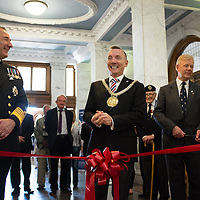 Liverpool, UK, 25th May, 2013. Lord Mayor of Liverpool Gary Miller along with First Sea Lord Admiral Sir George Zambellas opens the Veterans Welcome Centre in Liverpool as part of the 70th anniversary celebrations of the Battle of the Atlantic.