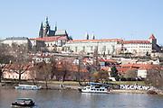 Prague, Czech Republic boats on the Vltava River
