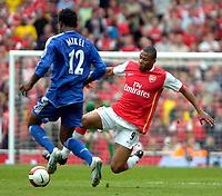 Photo: Ed Godden/Sportsbeat Images.<br /> Arsenal v Chelsea. The Barclays Premiership. 06/05/2007.<br /> Arsenal's Julio Baptista (R) dives in on John Obi Mikel.