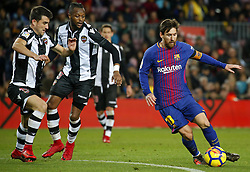 January 7, 2018 - Barcelona, Catalonia, Spain - Cheick Doukoure, Postigo and Leo Messi  during the Spanish league football match FC Barcelona vs Levante UD at the Camp Nou stadium in Barcelona on January 7, 2018. (Credit Image: © Joan Valls/NurPhoto via ZUMA Press)