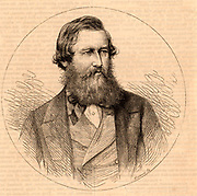 John Hanning Speke (1827-1864) born at Bideford, Devon, England.  Officer in the British Indian Army and explorer of Africa.  Accompanied Richard Burton's expedition (1855-1858), sponsored by the Royal Geographical Society, when he discovered Lake Victoria Nyanza. On a subsequent expedition of 1860-1862 he discovered the exit from the lake into the White Nile which he named Ripon Falls. Engraving from 'The Leisure Hour'  (London, 1864).