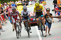 Sykkel<br /> 18.07.2013<br /> Tour de France<br /> Foto: PhotoNews/Digitalsport<br /> NORWAY ONLY<br /> <br /> ALPE D'HUEZ, FRANCE - JULY 18: Christopher Froome (Great Britain / Team Sky) talking to Nairo Alexander Quintana Rojas (Columbia / Team Movistar) and Joaquin Rodriguez Oliver (Spain / Team Katusha - Katuscha - Canyon) during the eighteenth stage of the 2013 Tour de France from Gap to Alpe d' Huez on July 18, 2013 in Alpe D'Huez, France.